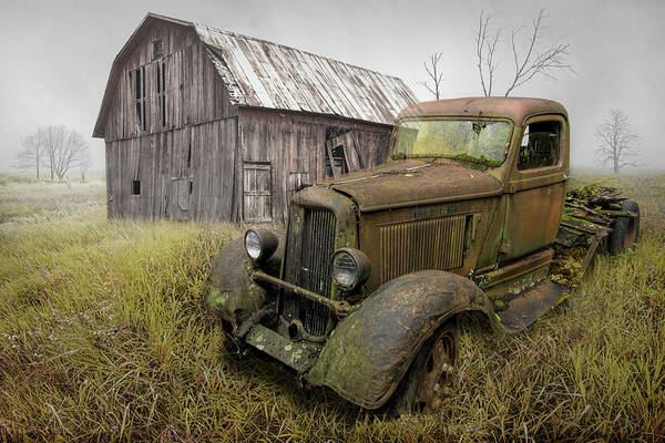 Photograph - Rusted Vintage Dodge Truck By An Old Weathered Barn by Randall Nyhof