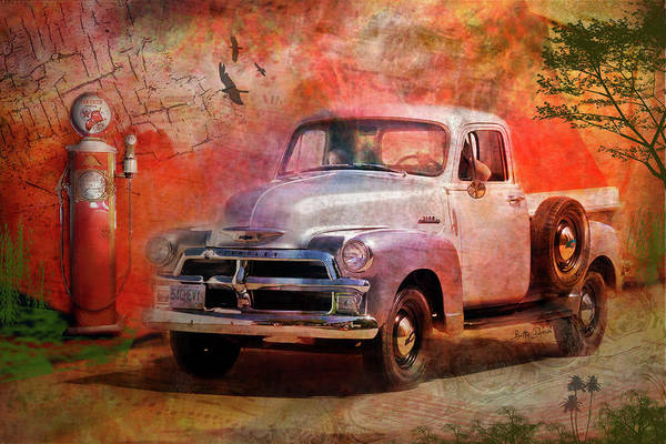 Wall Art - Photograph - Rustic 1954 Chevy Pickup At Gas Pump by Betty Denise