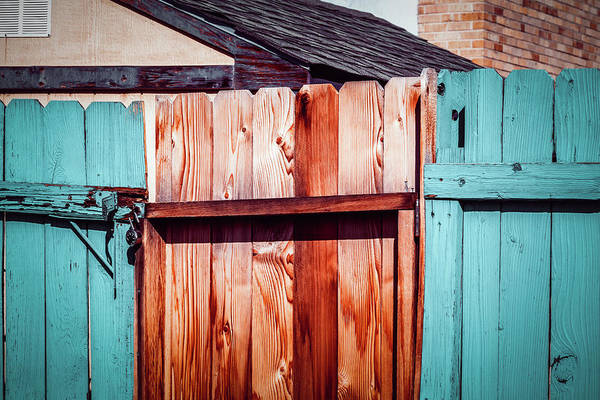 Photograph - Rustic Cedar Fence With Peeling Blue Paint by Jeanette Fellows