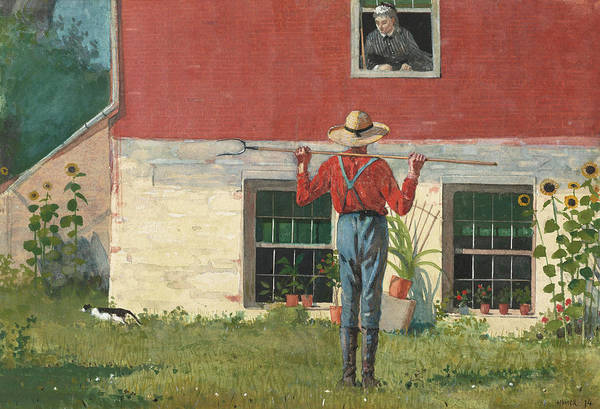 Wall Art - Painting - Rustic Courtship, Or In The Garden by Winslow Homer