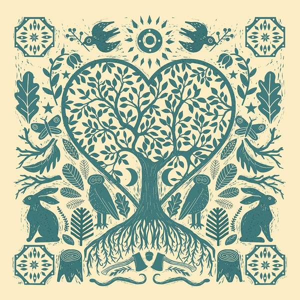 Linocut Wall Art - Painting - Rustic Early American Tree Of Life Woodcut by Little Bunny Sunshine
