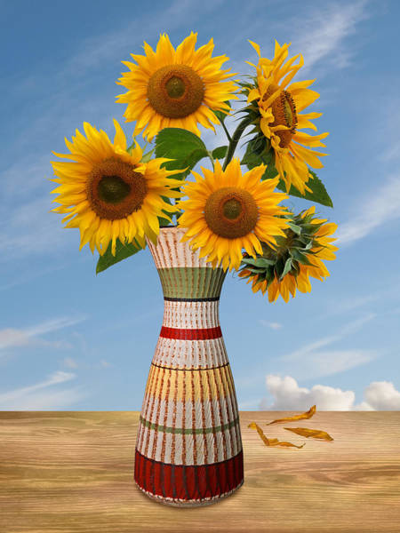 Photograph - Rustic Flower Vase With Sunflowers by Gill Billington