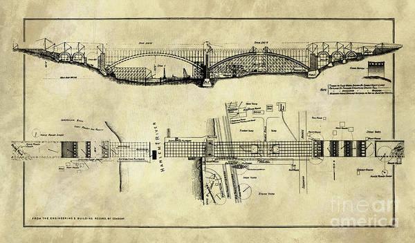 Wall Art - Drawing - Rustic George Washington Bridge Blueprint Industrial Farmhouse by Tina Lavoie