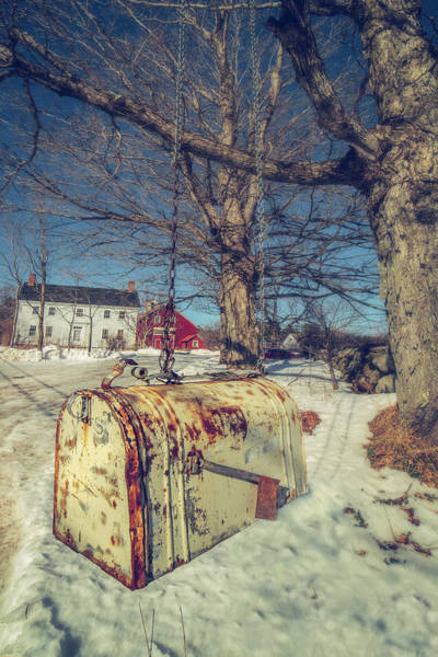 Photograph - Rustic Mailbox On Winter Farm by Joann Vitali