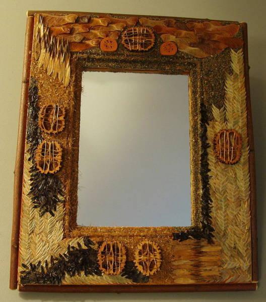 Walnut Mixed Media - Rustic Mirror With Walnuts by Jim Caufield