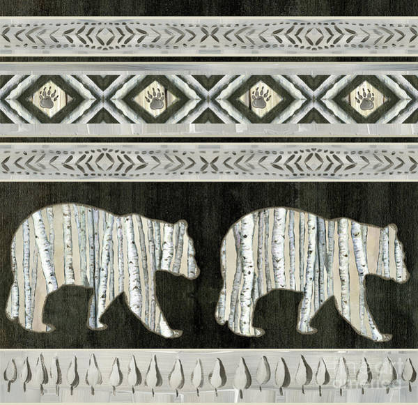 Wall Art - Painting - Rustic Mountain Lodge Bear Paw Forest  by Audrey Jeanne Roberts