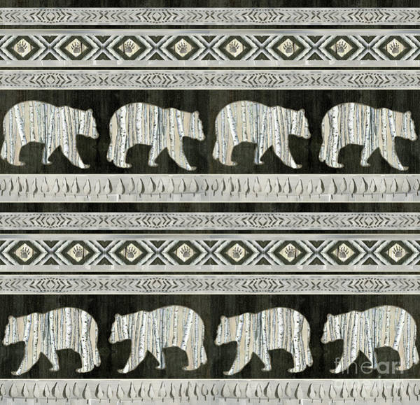 Wall Art - Painting - Rustic Mountain Lodge Bear Tribal Tree Pattern by Audrey Jeanne Roberts