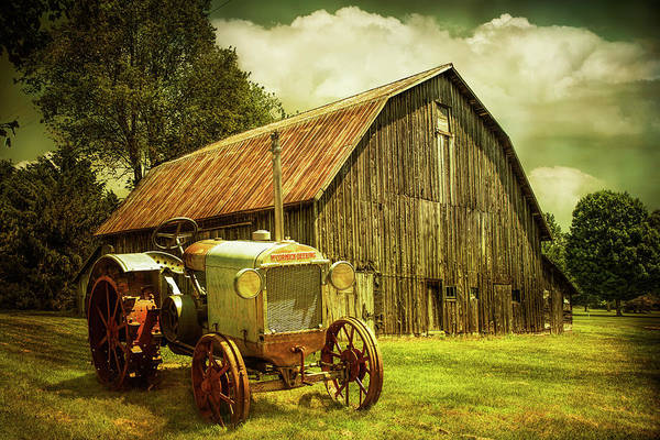 Wall Art - Photograph - Rustic Scene Of An Old Vintage Mccormick Deering Tractor With Ol by Randall Nyhof