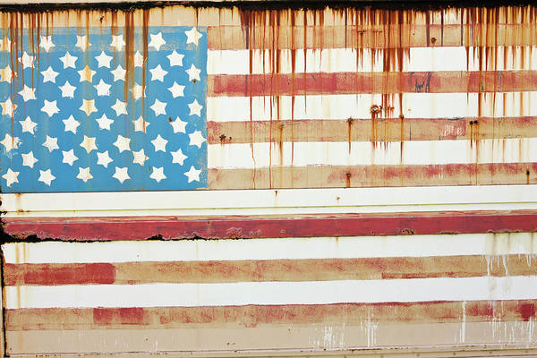 Damaged Photograph - Rusting Surface With American Flag by Simon Willms