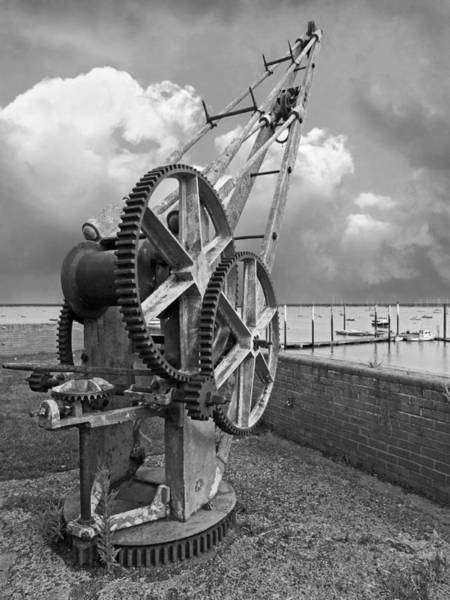 Photograph - Rusty Boat Winch Burnham On Crouch Harbour In Mono by Gill Billington