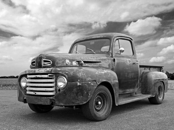 Photograph - Rusty Ford Farm Truck Black And White by Gill Billington