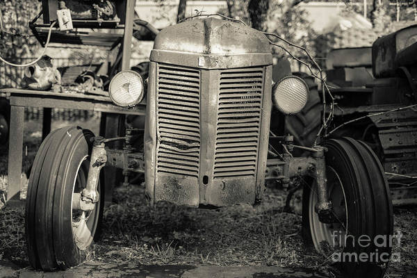 Wall Art - Photograph - Rusty Old Ford Vintage Farm Tractor by Edward Fielding