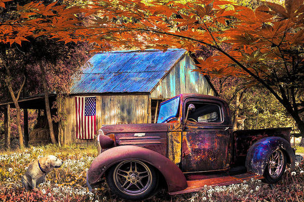 Photograph - Rusty Old Truck On The Farm Fall Painting by Debra and Dave Vanderlaan