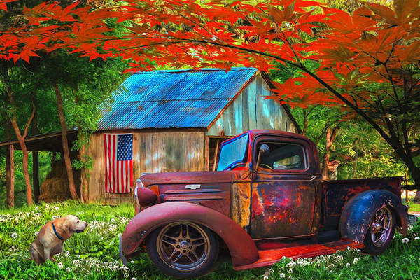 Photograph - Rusty Old Truck On The Farm Watercolor Painting by Debra and Dave Vanderlaan