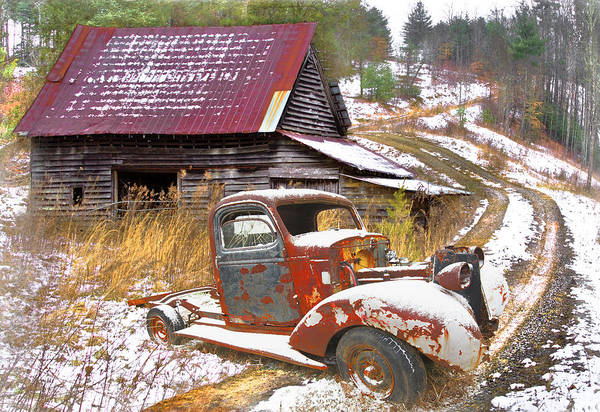 Photograph - Rusty Red In The Snow by Debra and Dave Vanderlaan