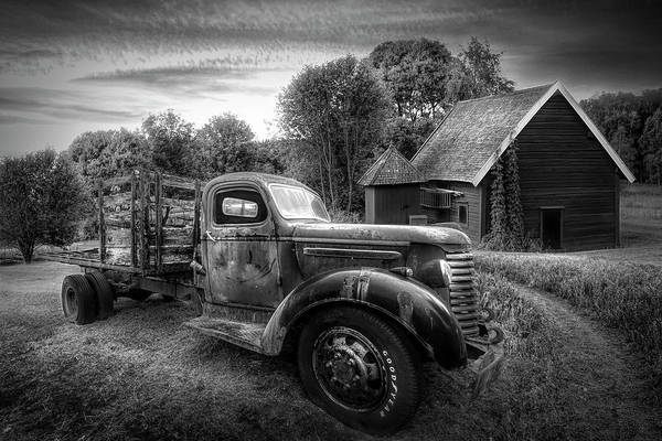 Photograph - Rusty Truck In The Rural Countryside In Black And White by Debra and Dave Vanderlaan