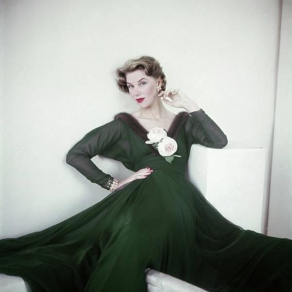 Photograph - Ruth Neumann Wearing Traina-norell by Horst P. Horst