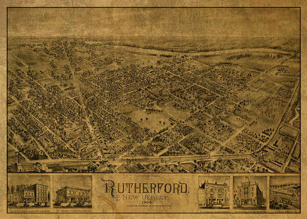 New Jersey Mixed Media - Rutherford New Jersey Vintage City Street Map 1904 by Design Turnpike