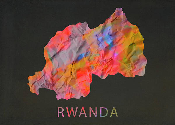 Wall Art - Mixed Media - Rwanda Tie Dye Country Map by Design Turnpike