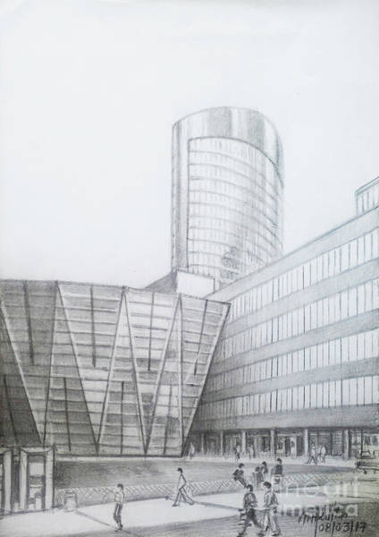 Wall Art - Drawing - Rwe Tower-dortmund by Mohammad Hayssam Kattaa
