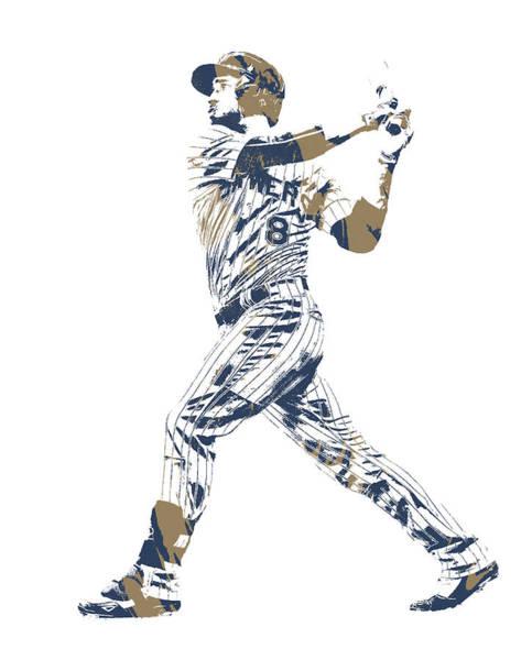 Wall Art - Mixed Media - Ryan Braun Milwaukee Brewers Pixel Art 11 by Joe Hamilton