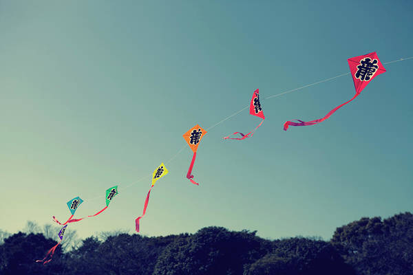 Flying A Kite Photograph - Ryuu Kites by Copyright Paul England