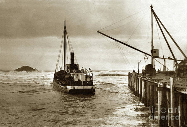 Photograph - S. S. South Coast A Coastal Schooner Loading At A Wharf With Sea by California Views Archives Mr Pat Hathaway Archives