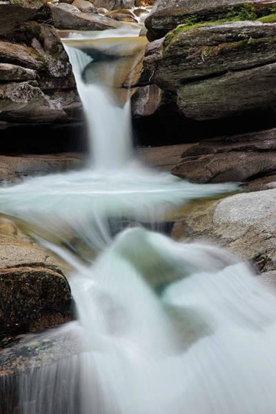 Franconia Notch Wall Art - Photograph - Sabbaday Falls, Franconia Notch, White by Adam Jones