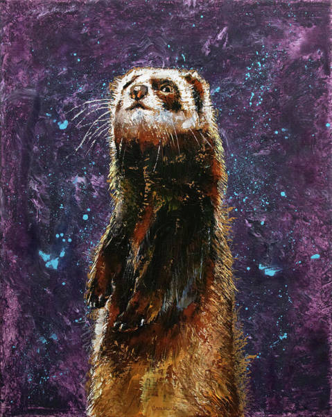 Wall Art - Painting - Sable Ferret by Michael Creese