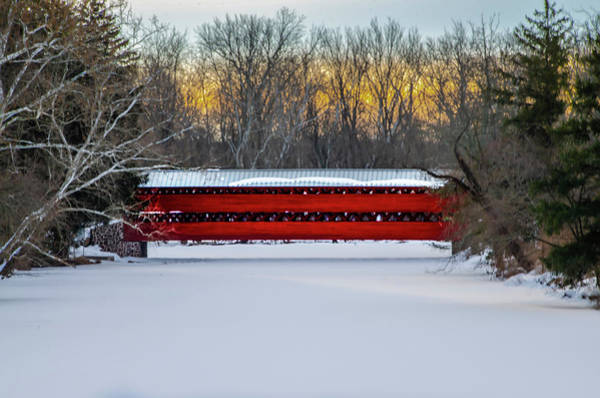 Wall Art - Photograph - Sachs Covered Bridge - Winter In Gettysburg by Bill Cannon