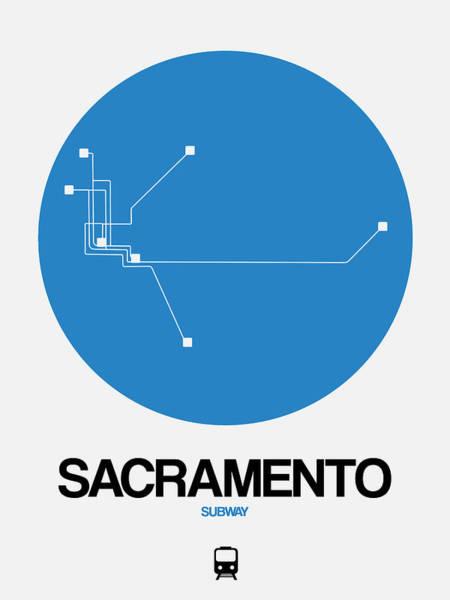 California Digital Art - Sacramento Black Subway Map by Naxart Studio