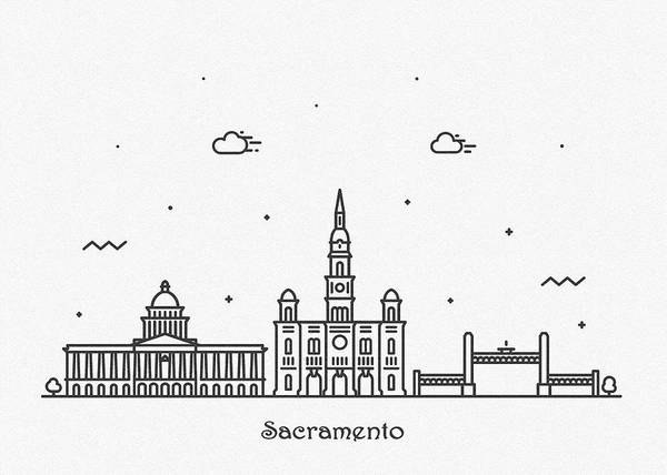 Drawing - Sacramento Cityscape Travel Poster by Inspirowl Design