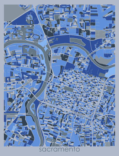 Wall Art - Digital Art - Sacramento Map Retro 5 by Bekim M