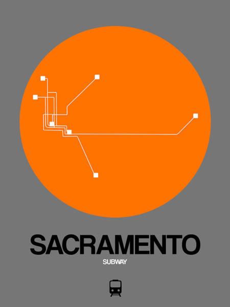 California Digital Art - Sacramento Orange Subway Map by Naxart Studio