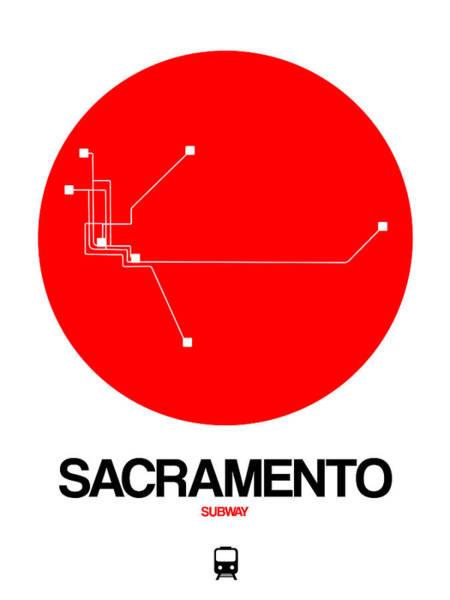 California Digital Art - Sacramento Red Subway Map by Naxart Studio