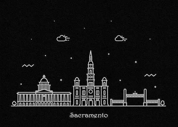 Wall Art - Drawing - Sacramento Skyline Travel Poster by Inspirowl Design