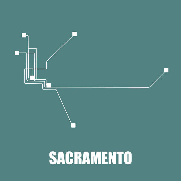 Wall Art - Digital Art - Sacramento Teal Subway Map by Naxart Studio