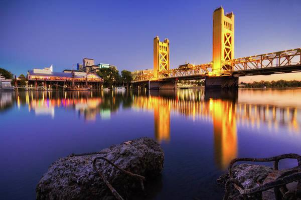 Symmetry Photograph - Sacramento Tower Bridge by Craig Saewong