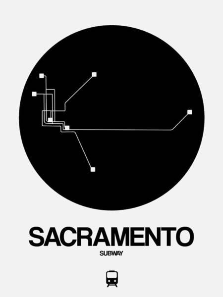 California Digital Art - Sacramento White Subway Map by Naxart Studio