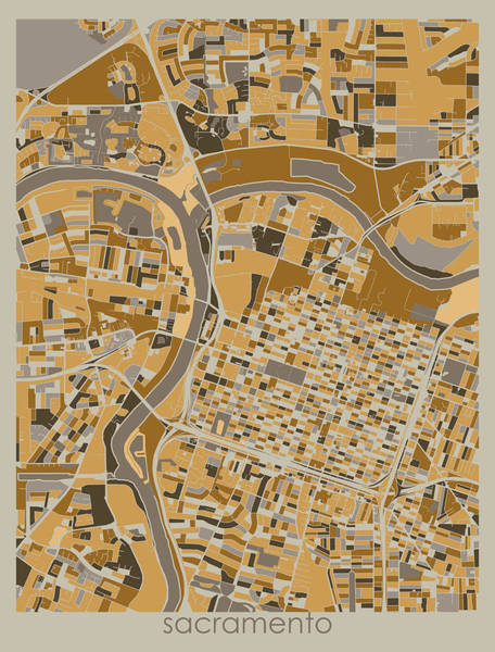 Wall Art - Digital Art - Sacramneto Map Retro 4 by Bekim M