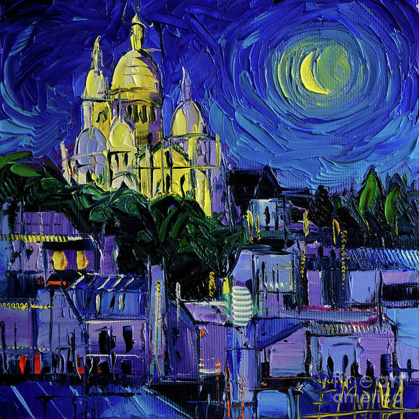 Wall Art - Painting - Sacre Coeur Paris Nightlights Palette Knife Oil Painting Mona Edulesco by Mona Edulesco