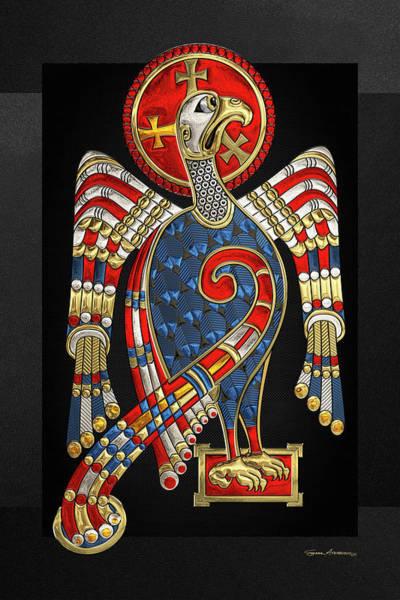 Digital Art - Sacred Celtic Eagle Over Black Canvas  by Serge Averbukh
