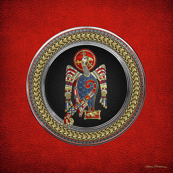 Digital Art - Sacred Celtic Eagle Over Gold Silver And Black Medallion On Red Leather  by Serge Averbukh