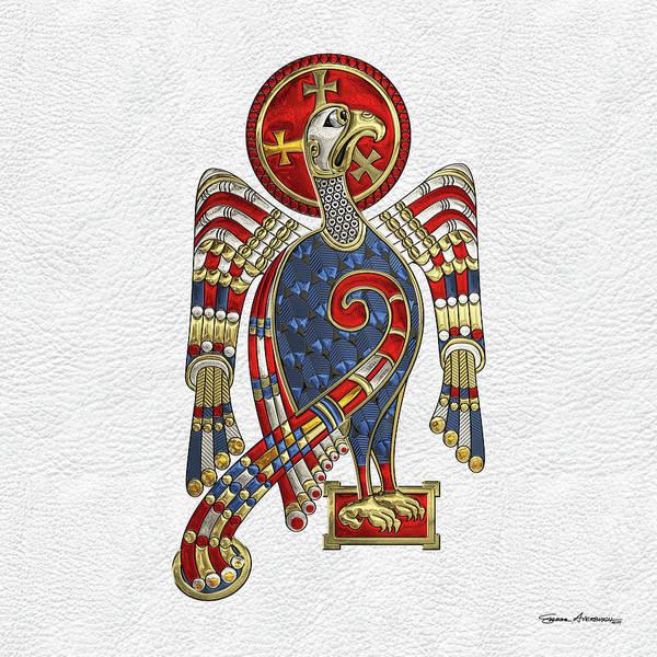Digital Art - Sacred Celtic Eagle Over White Leather  by Serge Averbukh