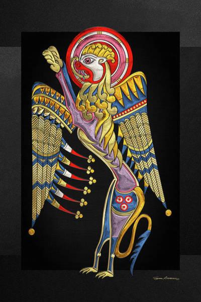 Digital Art - Sacred Celtic Lion Over Black Canvas  by Serge Averbukh