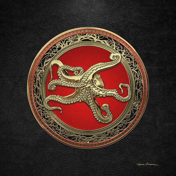 Digital Art - Sacred Gold Octopus On Black Leather by Serge Averbukh