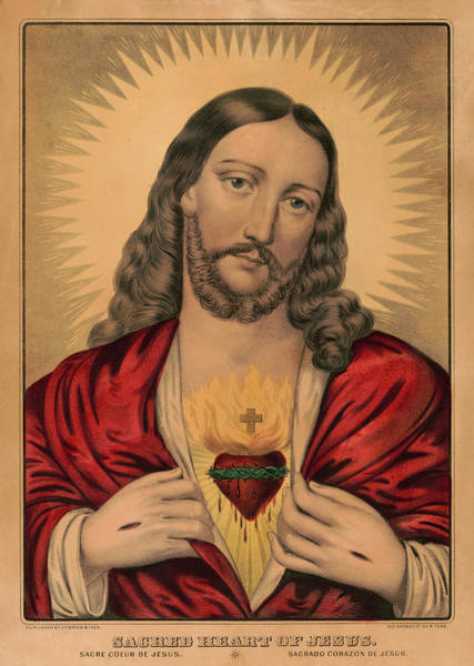 Wall Art - Painting - Sacred Heart Of Jesus, 1835 by American School