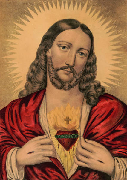 Wall Art - Painting - Sacred Heart Of Jesus by American School