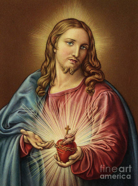 Wall Art - Painting - Sacred Heart Of Jesus By Batoni by Pompeo Girolamo Batoni