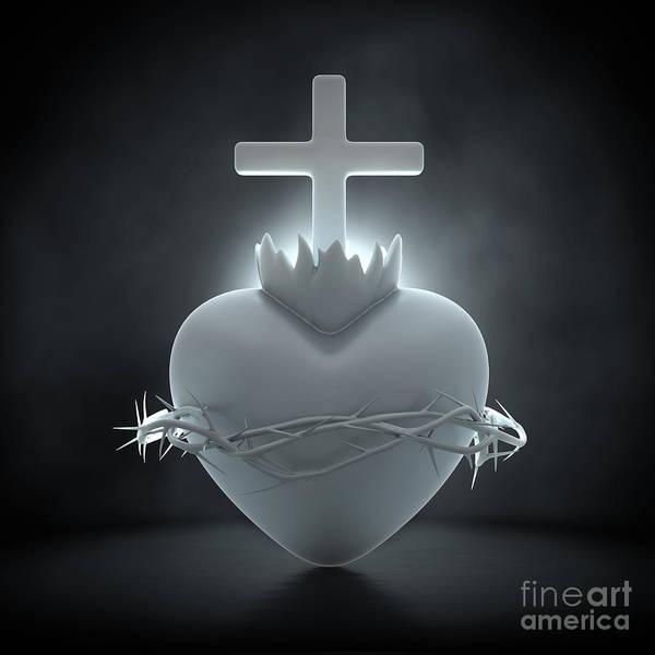 Wall Art - Digital Art - Sacred Heart Of Jesus Marble by Allan Swart